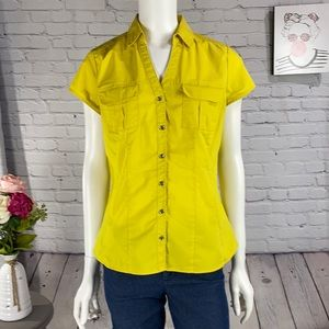 GEORGE Yellow Button Up Top Size: Medium 8-10